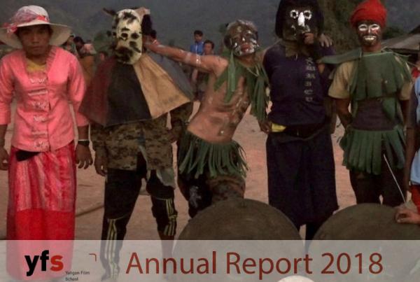 Ruutukaappaus Yangon Film Schoolin vuosiraportin kannesta