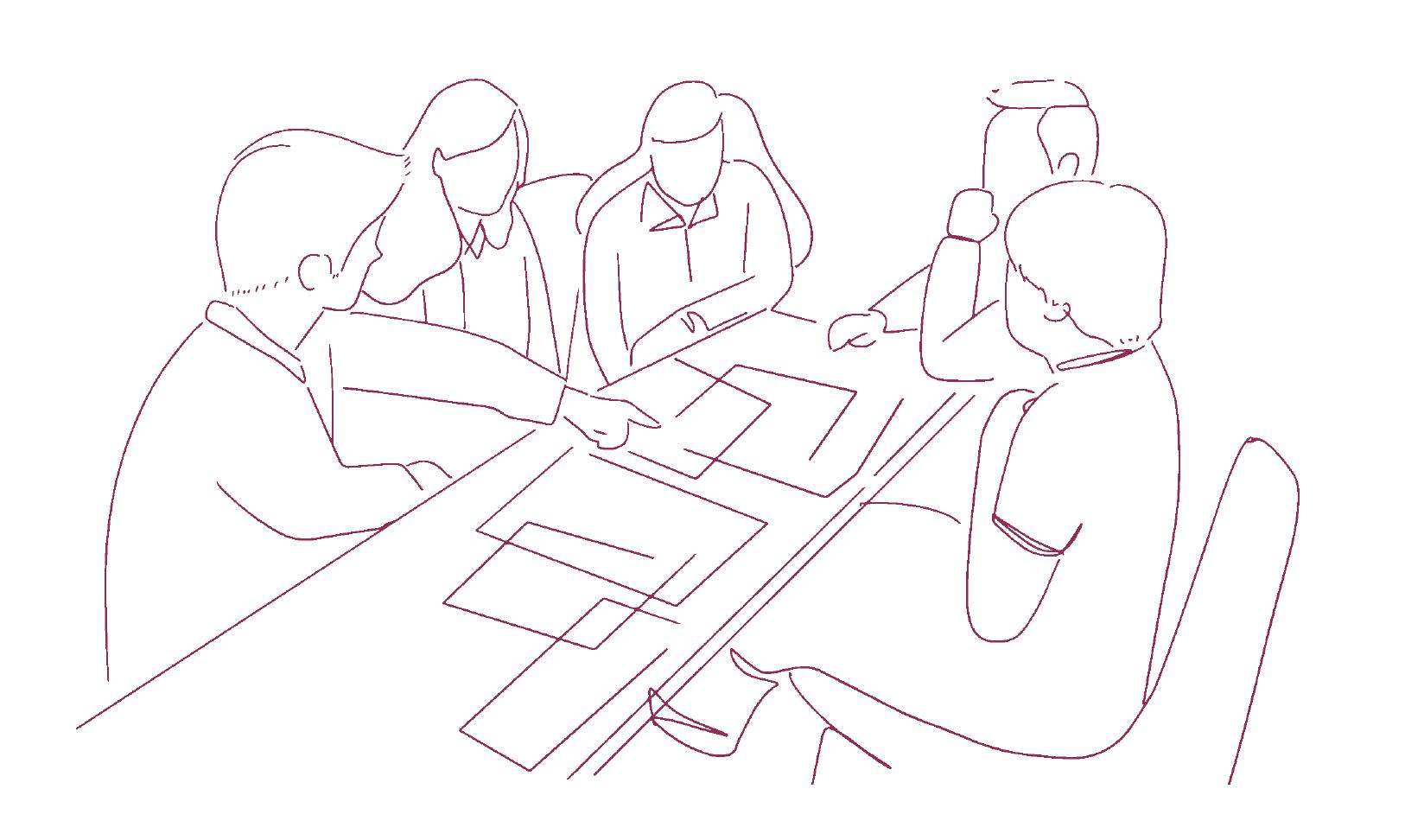 Symbolikuva ihmisistä pöydän ympärillä