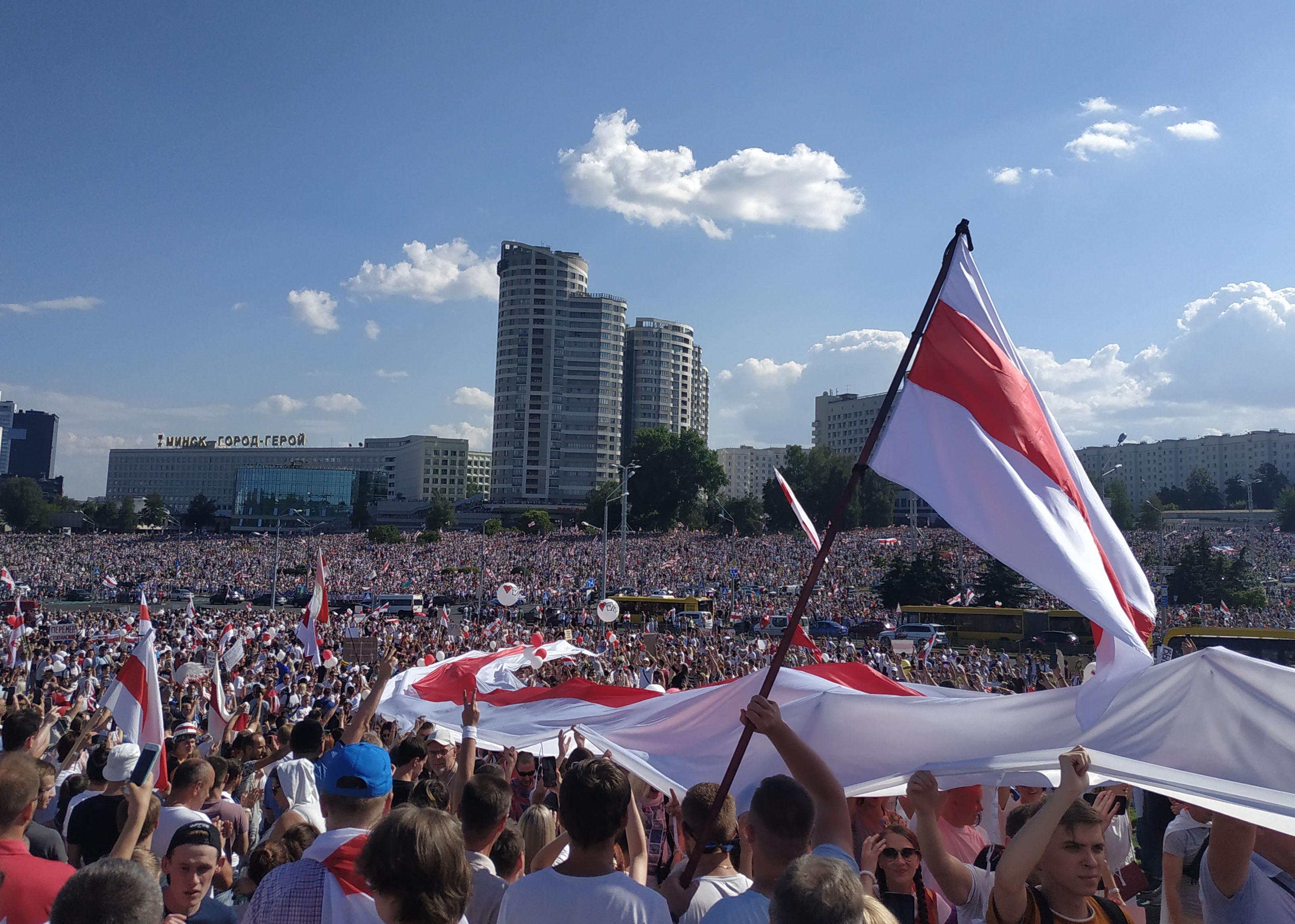 Mielenosoitus Valko-Venäjällä elokuussa