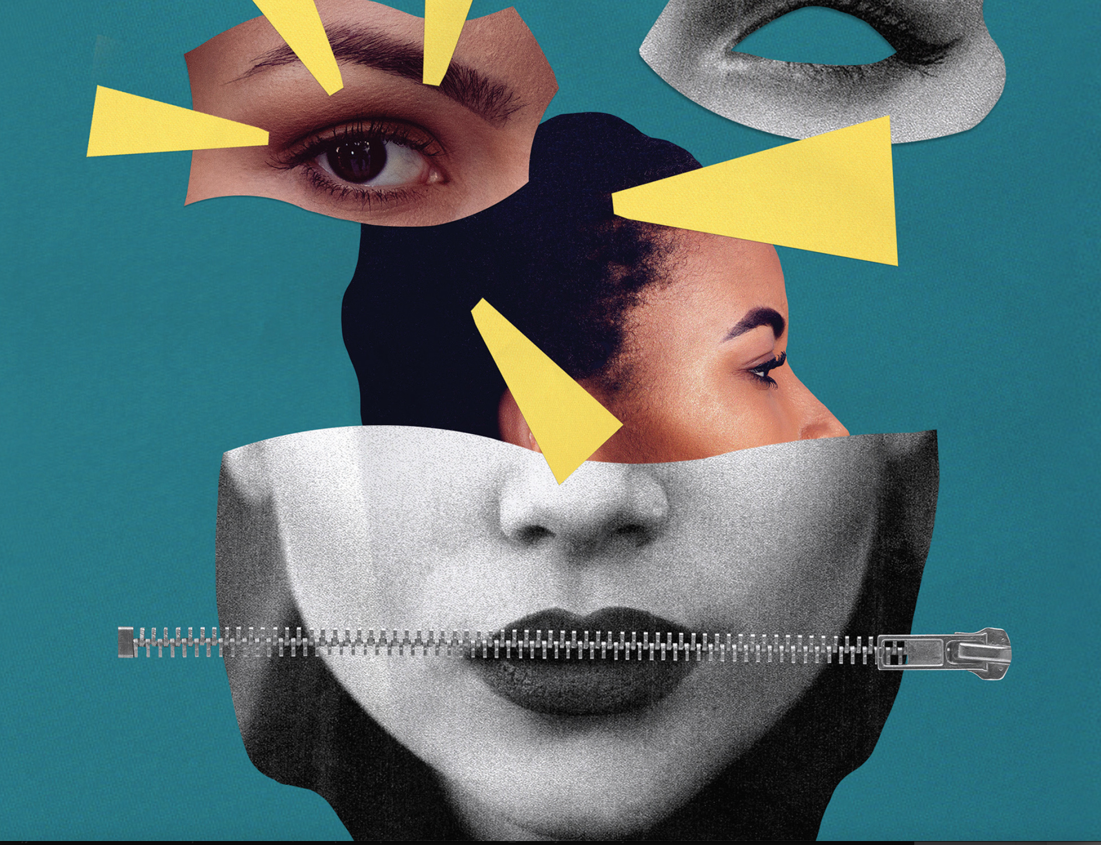 Unescon raportin kansikuva, jossa nainen, jonnka suun edessä vetoketju.