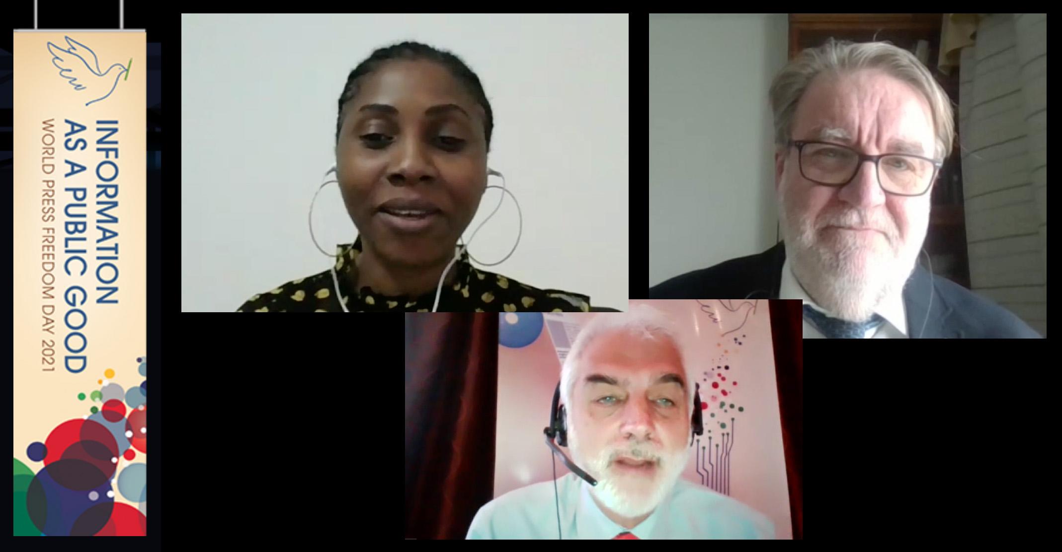 Ruutukaappaus panellikeskustelusta, jossa puhujat Jeanne Nguidjoi, Rauno Merisaari ja Guy Berger