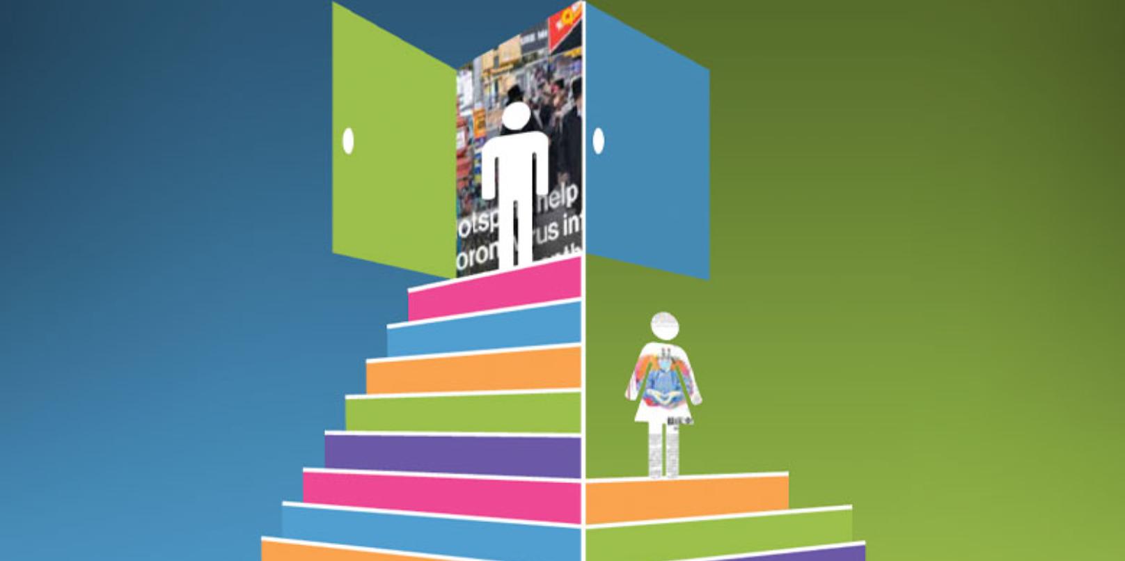 Kuvituskuva, jossa pyramidin huipulla mies, nainen puolivälissä